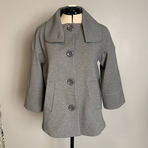Luii grey knit coat, button collar, 3/4 sleeves, S